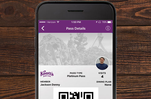 Knott's Berry Farm Mobile App Digital Pass